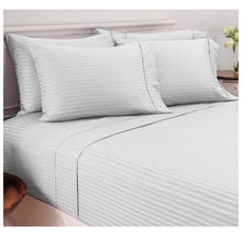 Damask Stripe Sheet Set in 600 TC 100% Egyptian Cotton Bed Sheets Full - Grey