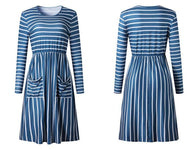 Long Sleeve Striped Dress with Two Front Pockets