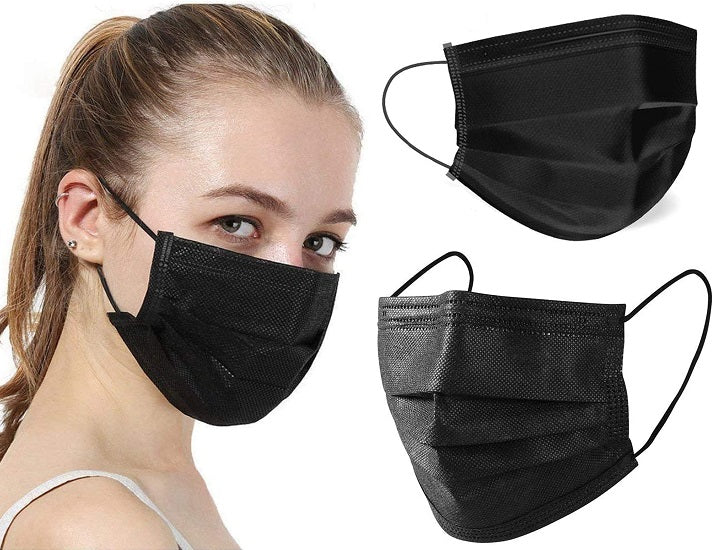 Black Disposable Non-Medical 3-Ply Face Mask (50-Pack up to 2,000-Pack)