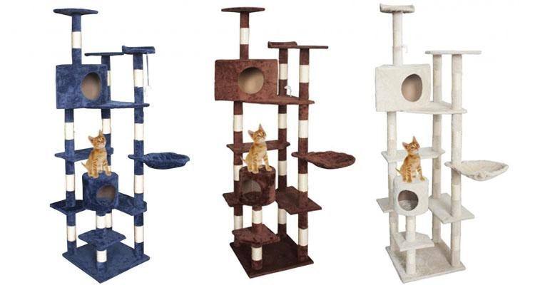 "Extra Tall 80"" Cat Tree Condo House with Scratching Posts Navy - UntilGone.com"