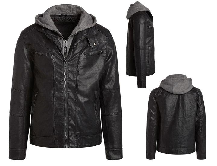 Alta Men's Motorcycle Jacket with Quilted Lining & Sweater Hoodie Coats & Jackets