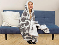 Kensie Home Reversible Sherpa-Lined Hooded Throw Robe with Pockets