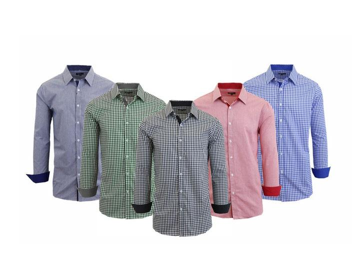 Men's Wrinkle-Resistant Long Sleeve Slim-Fit Button Shirt Gingham Light Blue - Small - UntilGone.com