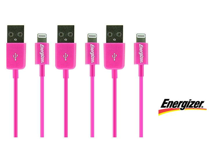 [3-Pack] Energizer USB Charge & Sync Cable for Apple Lightning Devices  - UntilGone.com