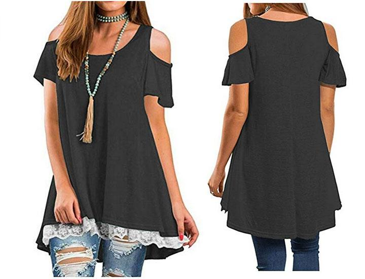 Open Shoulder Short Sleeve Scoop Neck A-Line Tunic Blouse with Lace Shirts & Tops