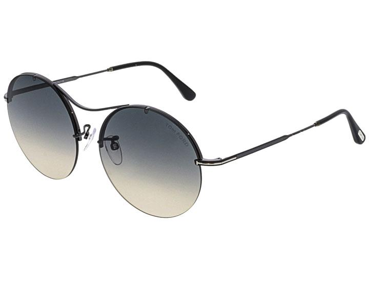 Tom Ford Women's Black Round Sunglasses Sunglasses