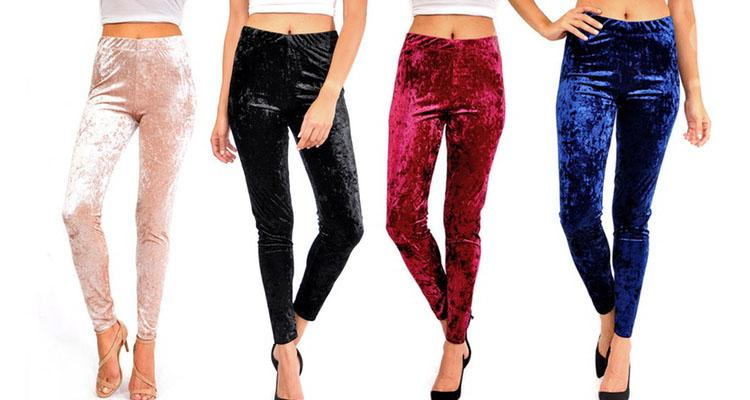 Women's Crushed-Velvet Leggings - Small to XL Pants