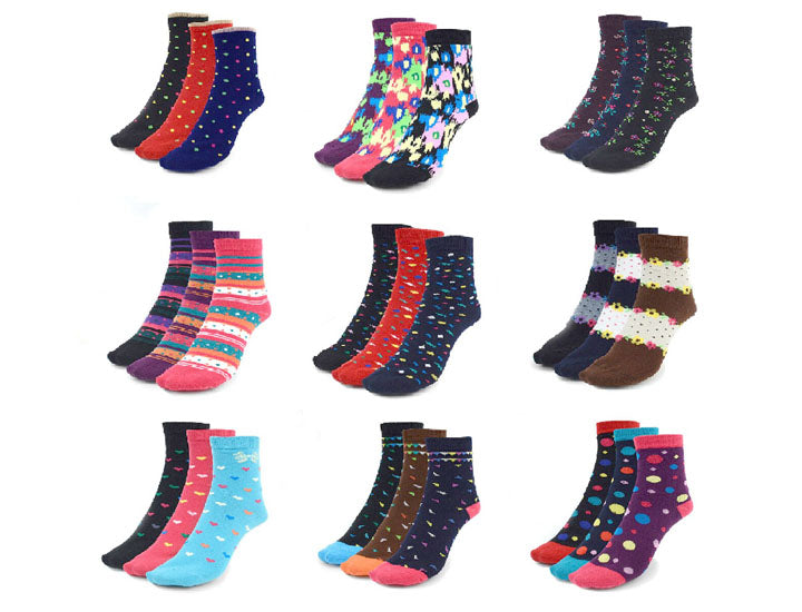 Assorted Warm And Comfortable Women's Socks (24 Pack)