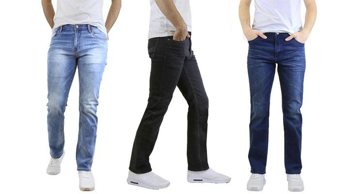Men's Straight Leg Jeans with Stretch Fit Pants