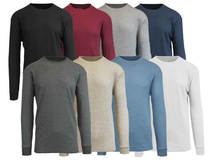 Men's Waffle Knit Cotton Blend Thermal Shirt Shirts & Tops