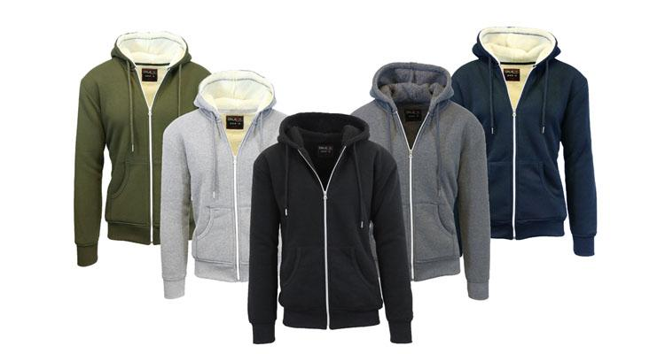 Men's Heavyweight Sherpa-Lined Fleece Hoodie - with Contrast Lining Shirts & Tops