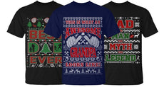 Men's Ugly Christmas Sweater Cotton T-Shirt - Dad and Grandpa Edition