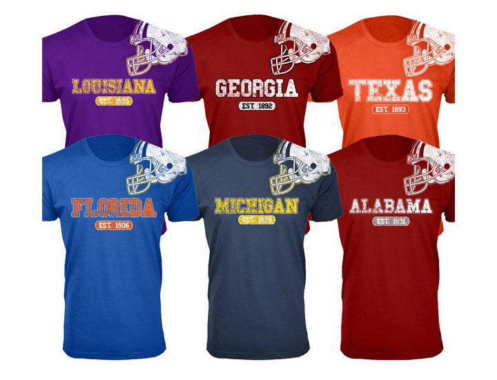 Men's 100% Cotton College Football Helmet T-Shirts Alabama / Red / SM - UntilGone.com