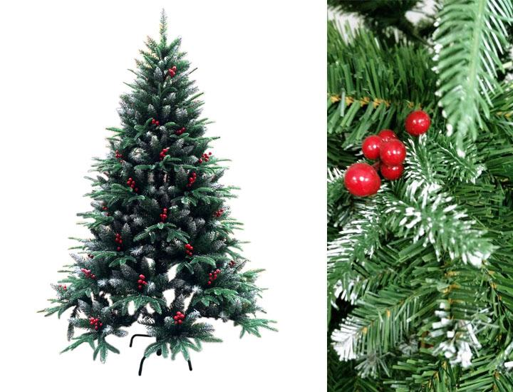 Artificial Christmas Tree with Frosted Snow Tips and Red Berries ...