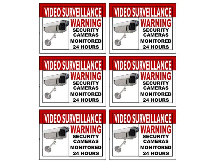 [6-Pack] Video Surveillance Warning Sticker for Indoor/Outdoor Use Labels & Tags