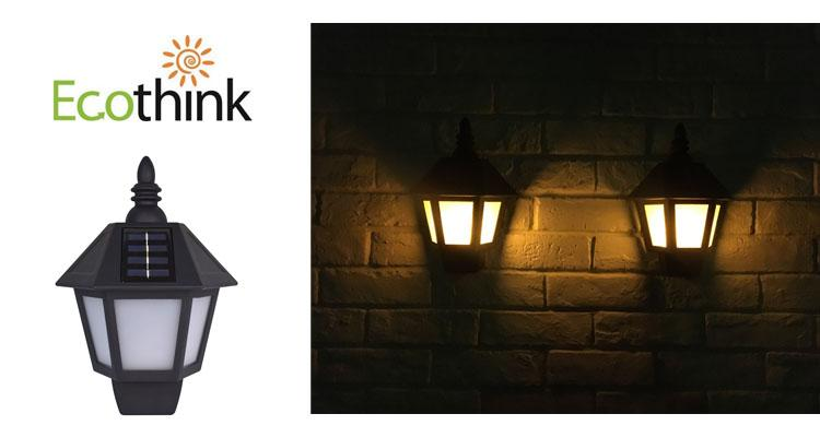 [2 Pack] Ecothink Outdoor Solar Blazing Wall Lights, Flickering Orange Light Effect with 6 LEDs  - UntilGone.com