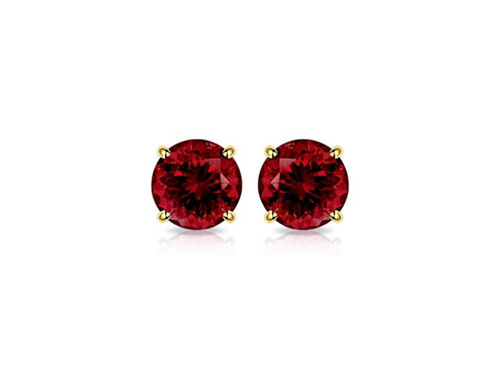 Genuine Garnet Stud Earrings in Solid 14K Gold  - UntilGone.com