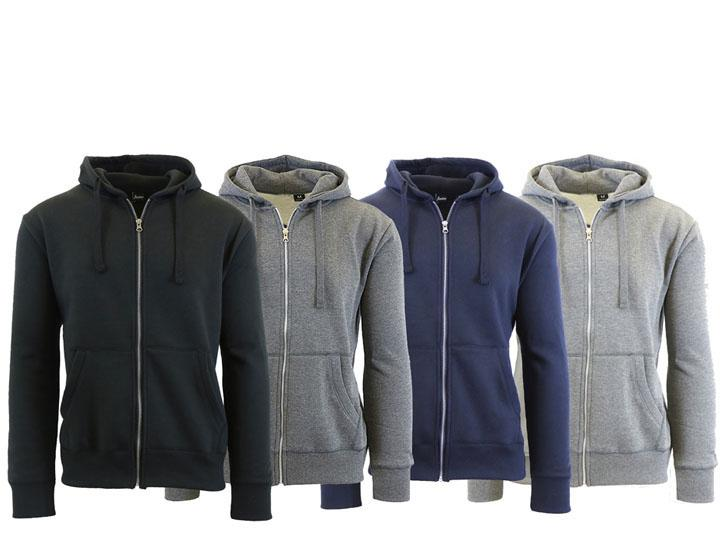 [3-Pack] Men's Fleece Lined Zip Hoodies - 3 Choices  - UntilGone.com