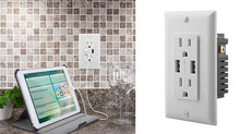 Ora 4.2-Amp Wall Power Outlets with Dual USB Ports - Choose 1-4 Pack