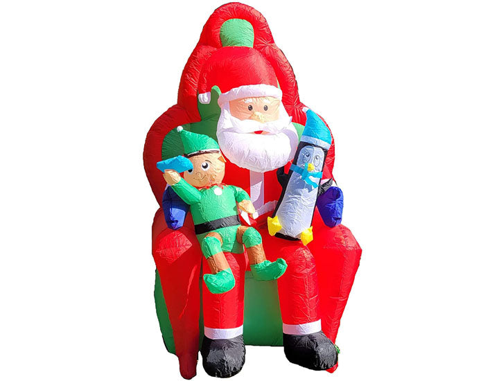 Let it Snow 6Ft Inflatable Elf and Penguin on Santa's Lap