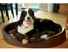 Furhaven Snuggle Terry and Suede Oval Bolster Pet Bed Dog Beds