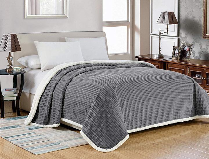 Super Soft Waffle Texture Sherpa Backed Over-Sized Blanket - 4 Colors Blankets