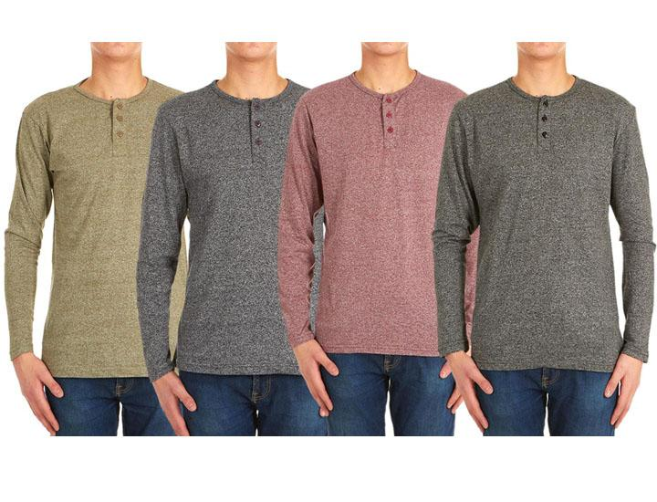 Men's Long-Sleeve Marled Henley Shirt (4-Pack)