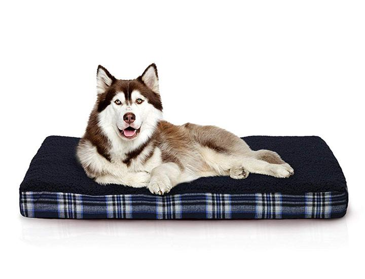FurHaven Deluxe Faux Sheepskin and Plaid Orthopedic Foam Dog Bed Dog Beds