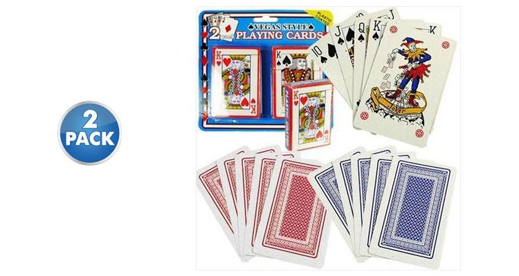 [2-Pack] Poker Size Playing Cards with Plastic Coating  - UntilGone.com