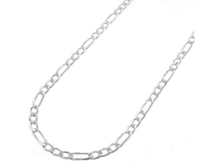 Sterling Silver Italian 3mm Figaro Link Necklace Chain 16