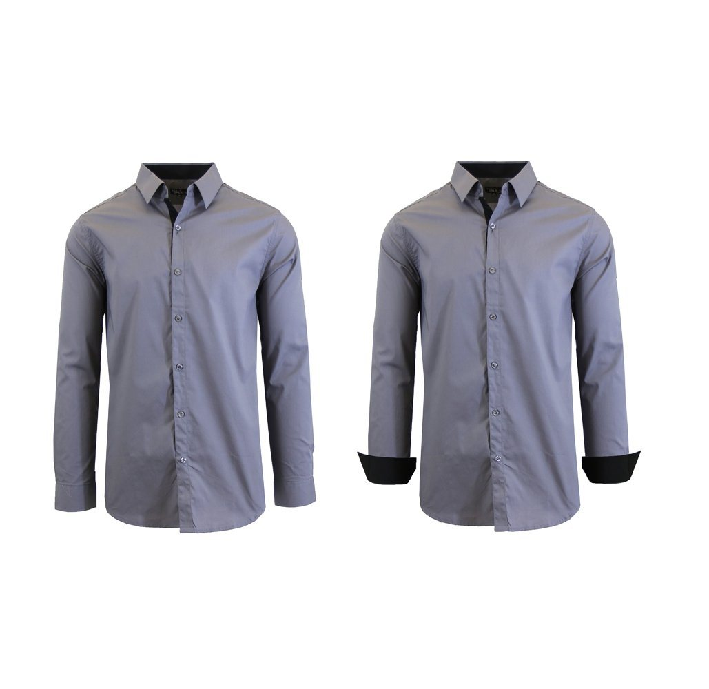 Men S Solid Color Slim Fit Long Sleeved Dress Shirt 8