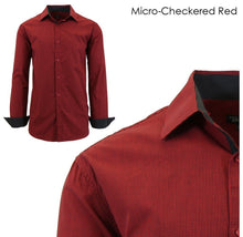 Men's Wrinkle-Resistant Long Sleeve Slim-Fit Button Shirt Micro-Checkered Red - Small - UntilGone.com
