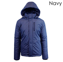 Men's Heavy Weight Water Resistant Tech Jacket with Detachable Hood Coats & Jackets Navy - Small