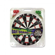 "Dartboard with 6 Metal Tip Darts (14"" Diameter) Dartboards"