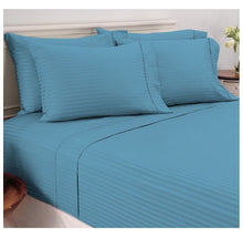 Damask Stripe Sheet Set in 600 TC 100% Egyptian Cotton Bed Sheets Full - Ocean Blue