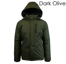 Men's Heavy Weight Water Resistant Tech Jacket with Detachable Hood Coats & Jackets Dark Olive - Small