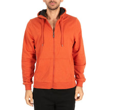 Men's Fleece Cotton-Blend Full Zip Hoodie Orange - Medium - UntilGone.com
