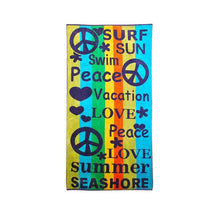 Superior Collection Oversized Beach Towel 100% Cotton Beach Towels Peace/Love - Multi-Colored