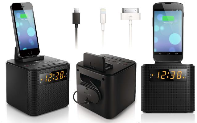 Philips Clock Radio with Universal Smart Phone Charging Cradle  - UntilGone.com