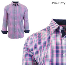 Men's Wrinkle-Resistant Long Sleeve Slim-Fit Button Shirt Pink/Navy - Small - UntilGone.com
