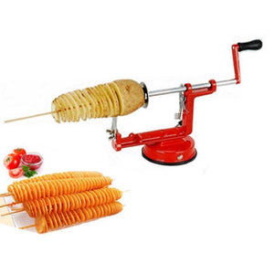 Stainless Steel Manual Spiral Slicer & Curly French Fry Cutter with Peeler