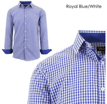 Men's Wrinkle-Resistant Long Sleeve Slim-Fit Button Shirt Royal Blue/White - Small - UntilGone.com
