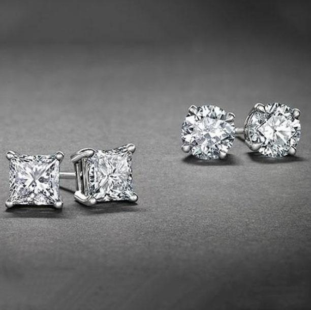 [2-Piece] White Gold Plated Round and Princess Studs Set  - UntilGone.com