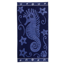 Superior Collection Oversized Beach Towel 100% Cotton Beach Towels Sea Horse - Blue