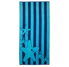 Superior Collection Oversized Beach Towel 100% Cotton Beach Towels Starfish - Blue