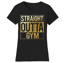 Women's Gym Workout Humor Funny T-Shirts Shirts & Tops Straight - Bl/Gld Print / Sm