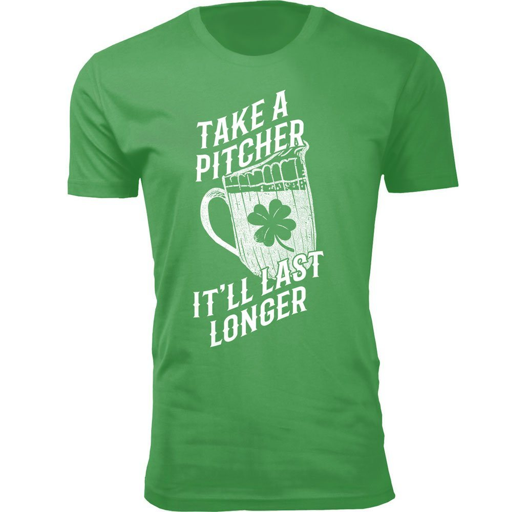 Men's Funny St. Patrick's Day T-Shirts Shirts & Tops Take A Pitcher It'll Last Longer - Small