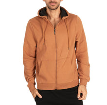 Men's Fleece Cotton-Blend Full Zip Hoodie Tan - Medium - UntilGone.com