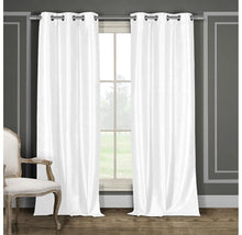 "Heavy Faux-Silk Blackout Thermal Curtains (2-Panels) Curtains & Drapes 96"" Length - White"