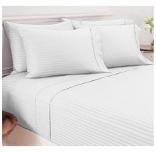 Damask Stripe Sheet Set in 600 TC 100% Egyptian Cotton Bed Sheets Full - White